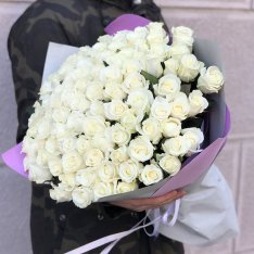 101 белая роза 50 см фото