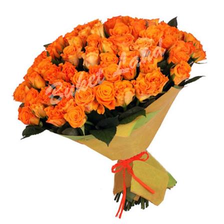 101 оранжевая роза Вау 60 см фото