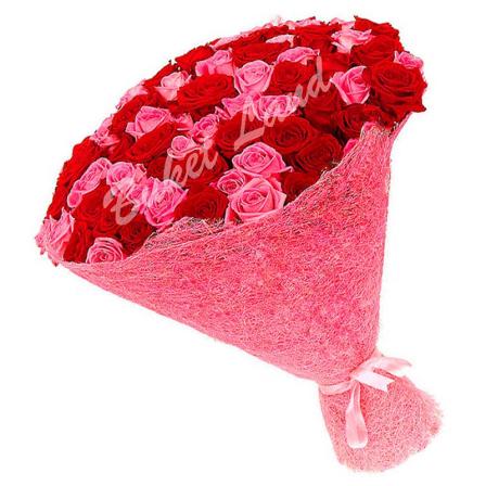 101 роза микс «розово-красная» 60 см