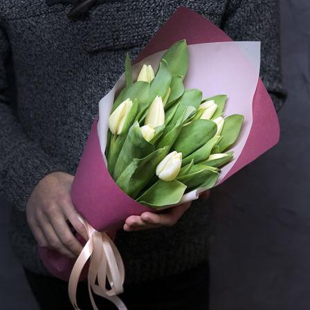 11 белых тюльпанов фото