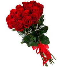 11 красных голландских роз фото