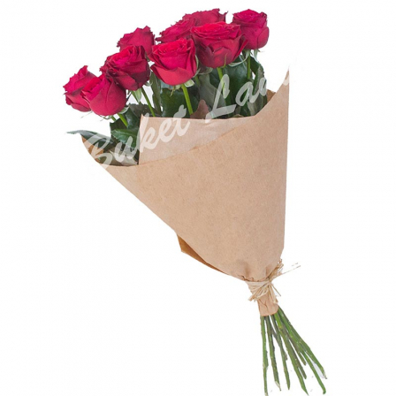 11 красных роз Гран При 60 см