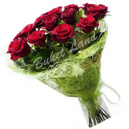 13 красных роз Гран При 60 см