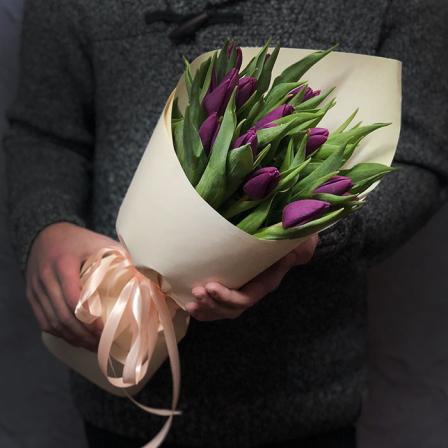 15 purple tulips photo
