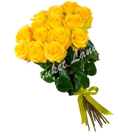 15 жёлтых роз Пенни Лейн 60 см фото