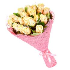 19 бежевых роз Талея 60 см фото