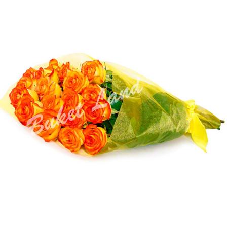 19 оранжевых роз Вау 60 см