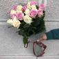 19 роз микс «бежево-розовая» 60 см фото