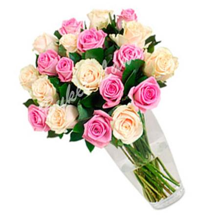 19 роз микс «бежево-розовая» 60 см