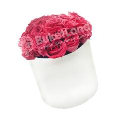 21 красная роза в шляпной коробке фото