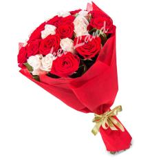 25 роз микс «красно-белая» 60 см фото