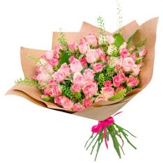 25 pink roses spray photo