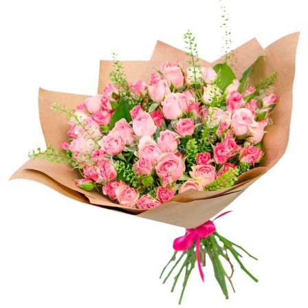 25 розовых роз спрей фото