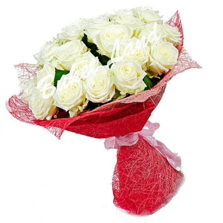 29 белых роз Аваланч 60 см