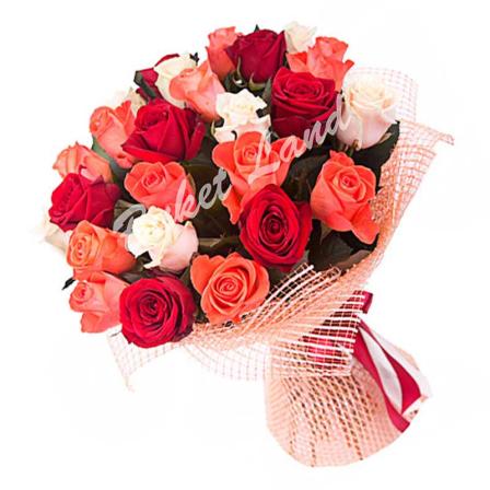 29 роз микс «красно-бело-оранжевая» 60 см фото