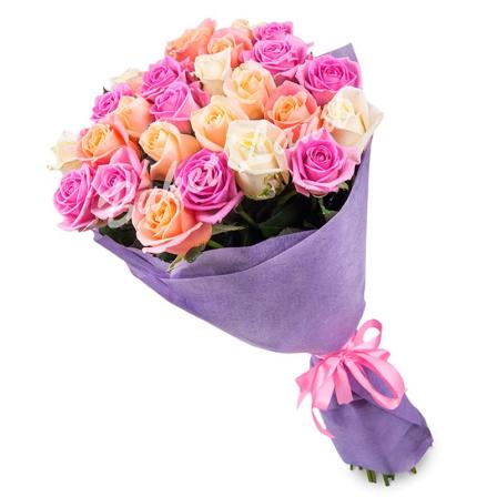 29 роз микс «розово-бело-бежевая» 60 см