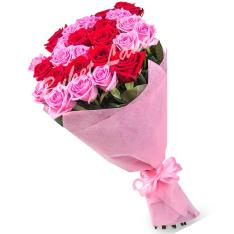 29 роз микс «розово-красная» 60 см фото