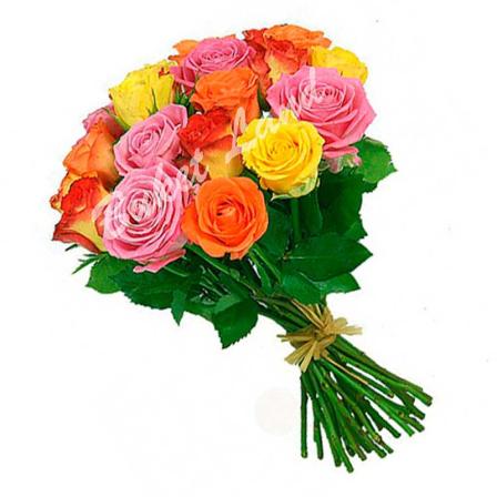 29 роз микс «розово-желто-оранжевая» 60 см фото