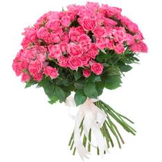 33 розовых розы спрей фото