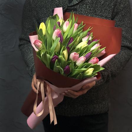 33 тюльпана микс (3 цвета) фото