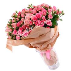 39 розовых роз спрей 60 см фото