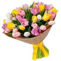 39 тюльпанов микс «бело-желто-розово-фиолетовый» фото