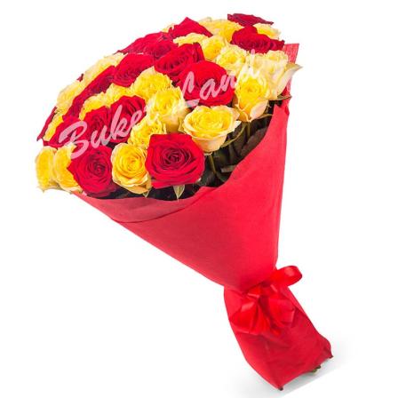 41 роза микс «красно-желтая» 60 см