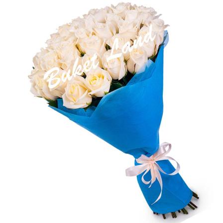 49 белых роз Аваланч 60 см