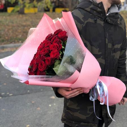 51 красная роза 60 см фото