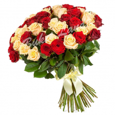 51 роза микс «красно-бежевая» 60 см фото