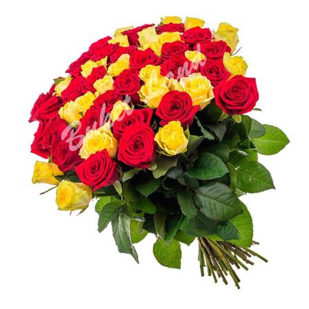 51 роза микс «красно-желтая» 60 см
