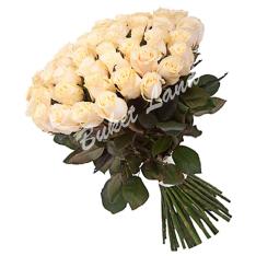 59 белых роз Аваланч 60 см фото