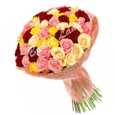 71 роза микс «красно-розово-желто-бежевая» 60 см фото