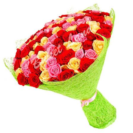 71 роза микс «красно-желто-розовая» 60 см фото