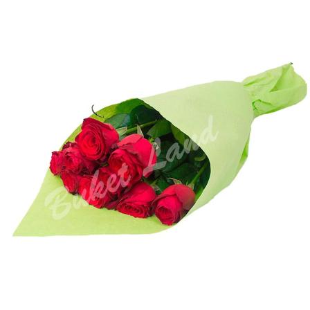 9 красных роз Гран При 60 см