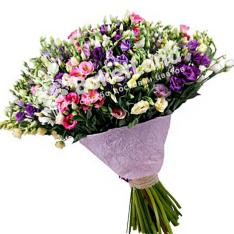 Bouquet of 101 multi-colored eustoma photo