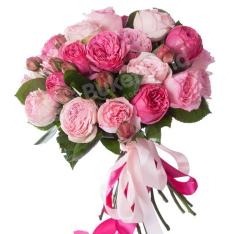 Букет из 19 пионовидных роз фото