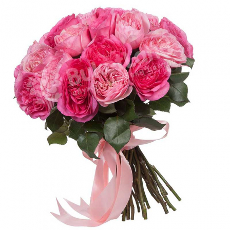 Bouquet from 21 pion-shaped roses photo