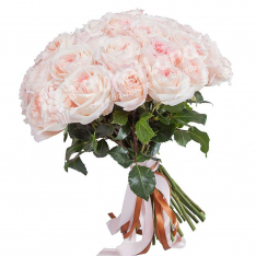 Букет из 33 пионовидных роз фото