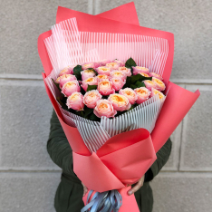 Bouquet of 37 pion-shaped roses photo