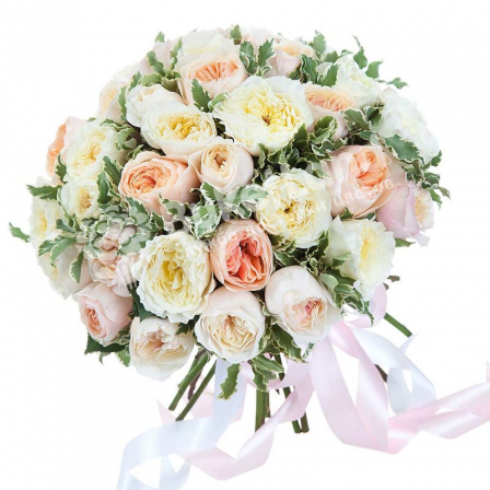 Bouquet of 39 pion-shaped roses photo