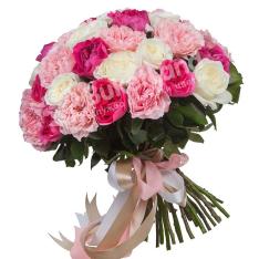 Букет из 41 пионовидной розы фото