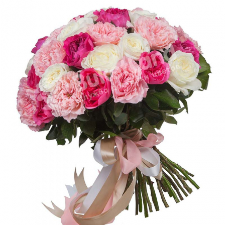 Bouquet of 41 pion-shaped roses photo