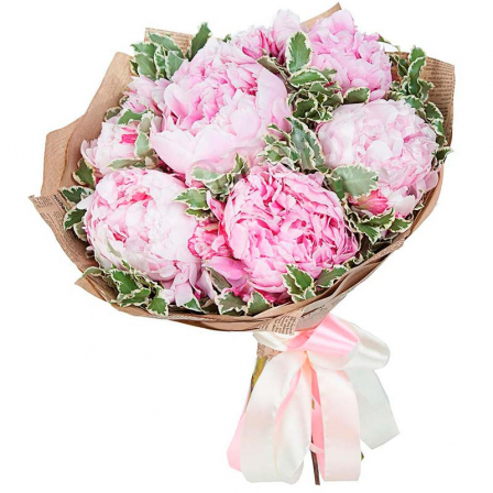 Bouquet of 7 peonies in stock photo