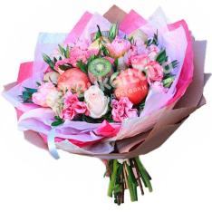 Букет из фруктов и цветов «Эмилия» | размер L фото