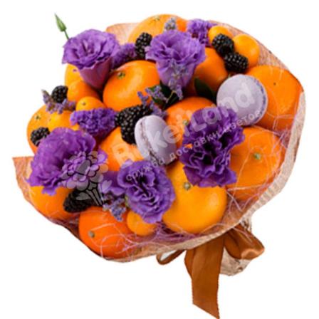 Букет из фруктов и цветов «Мандарин» | размер L фото