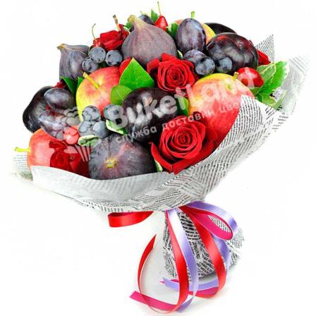 Букет из фруктов и цветов «Мелодия любви» | размер L фото