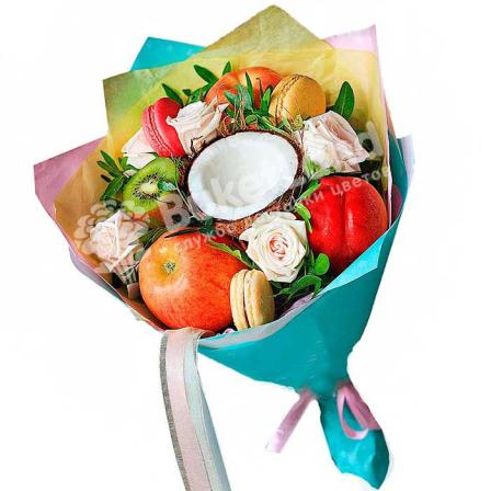 Букет из фруктов и цветов «Настроение» | размер M фото