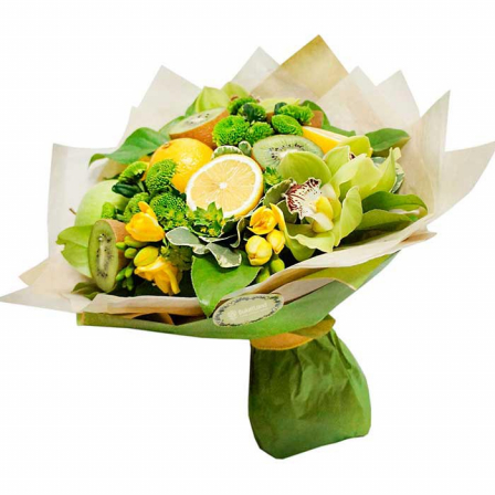 Букет из фруктов и цветов «Тропикана» | размер L фото