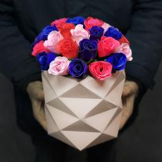 Букет в шляпной коробке из мыльных роз | размер М фото
